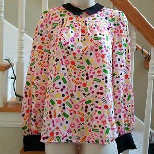 Kate Spade sz 0 xxs Peter pan pink black blouse